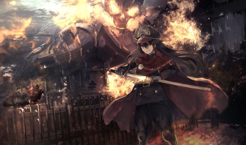 1girl belt black_hair black_hat black_pants cape fate/grand_order fate_(series) fire floating_hair gloves grey_gloves grin hair_between_eyes hat highres holding holding_sheath holding_sword holding_weapon katana kumamoto_nomii-kun long_hair looking_at_viewer military military_uniform night oda_nobunaga_(fate) outdoors pants red_cape red_eyes ruins sheath skeleton smile standing sword uniform unsheathing weapon