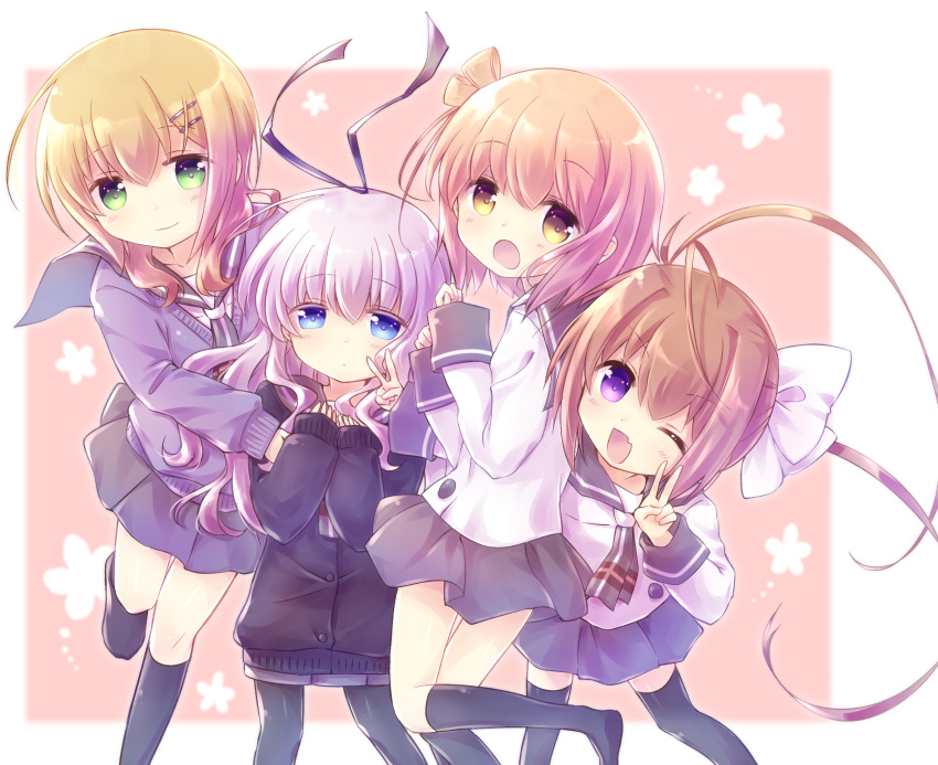 4girls ;d bangs black_cardigan black_legwear black_ribbon blue_eyes blush bow brown_hair cardigan closed_mouth commentary_request double_v eyebrows_visible_through_hair fang green_eyes grey_neckwear grey_skirt hair_between_eyes hair_bow hair_ornament hair_ribbon hairclip highres ichinose_hana kneehighs light_brown_hair long_hair long_sleeves looking_at_viewer momochi_tamate multiple_girls nyaa_(nnekoron) one_eye_closed open_mouth pantyhose pleated_skirt purple_cardigan purple_hair ribbon school_uniform sengoku_kamuri serafuku shirt skirt sleeves_past_wrists slow_start smile standing standing_on_one_leg thigh-highs tokura_eiko twintails v very_long_hair violet_eyes white_bow white_shirt