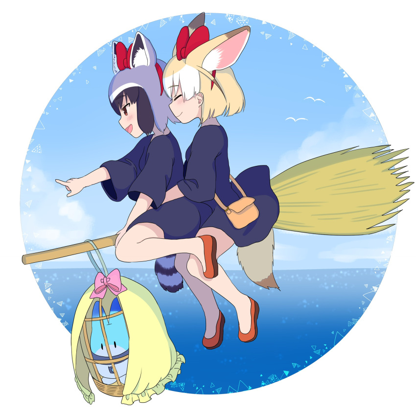 2girls :d ^_^ alternate_costume ancolatte_(onikuanco) animal_ears black_hair black_robe blonde_hair bow broom broom_riding brown_eyes cage closed_eyes commentary common_raccoon_(kemono_friends) cosplay extra_ears fennec_(kemono_friends) flying food fox_ears gloves grey_gloves hair_bow hairband highres hug hug_from_behind kemono_friends kiki kiki_(cosplay) lucky_beast_(kemono_friends) majo_no_takkyuubin multicolored_hair multiple_girls open_mouth pointing raccoon_ears raccoon_tail red_footwear short_hair smile striped_tail tail white_hair