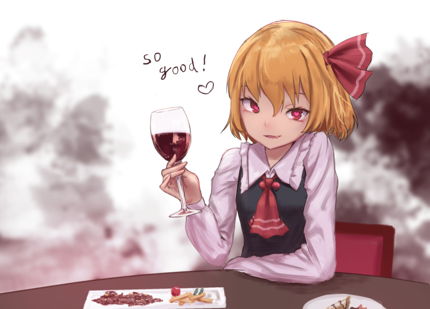 1girl ascot black_vest blonde_hair blood chair commentary_request cup drinking_glass english fang food french_fries frilled_shirt_collar frills hair_ribbon heart heart-shaped_pupils holding holding_drinking_glass long_sleeves looking_at_viewer parted_lips plate red_eyes red_neckwear red_ribbon ribbon roke_(taikodon) rumia shirt short_hair sitting smile solo symbol-shaped_pupils table touhou vest white_background white_shirt