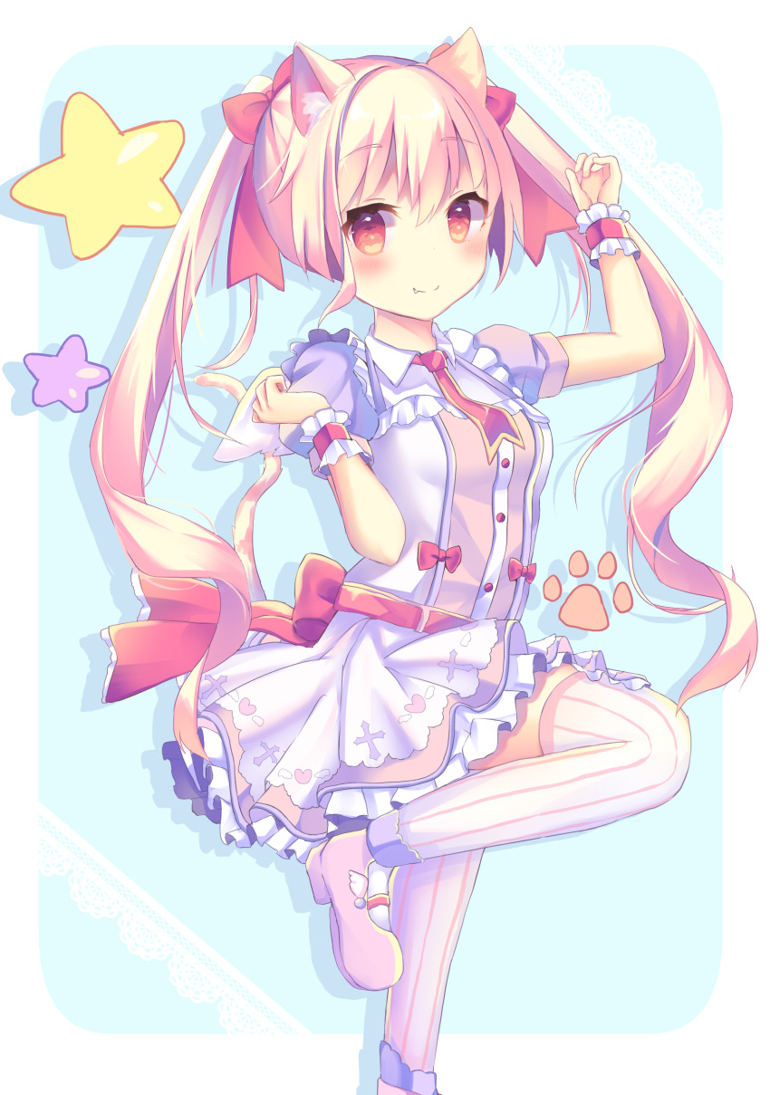 1girl absurdres animal_ears arm_up bangs blonde_hair blush bow cat_ears cat_girl cat_tail closed_mouth dress eyebrows_visible_through_hair fang fang_out hair_between_eyes hair_bow highres long_hair looking_at_viewer mary_janes original pink_footwear puffy_short_sleeves puffy_sleeves red_bow red_eyes shoes short_sleeves sidelocks smile solo standing standing_on_one_leg striped striped_legwear tail thigh-highs tsuruse twintails vertical-striped_legwear vertical_stripes very_long_hair white_dress white_legwear wrist_cuffs