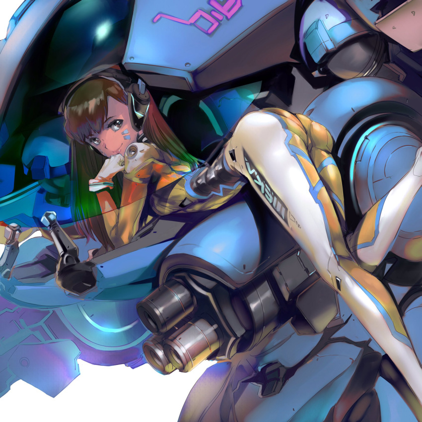 1girl bent_elbow bent_knee breasts brown_hair commentary_request d.va_(overwatch) facepaint facial_mark grey_eyes hand_on_own_shoulder headphones highres long_hair looking_at_viewer overwatch shimoguchi_tomohiro solo uniform