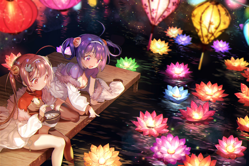 2girls :d afloat ahoge anchor arm_support azur_lane bangs black_legwear blurry blurry_foreground blush bowl breasts brown_hair china_dress chinese_clothes chopsticks cleavage cleavage_cutout closed_mouth commentary_request depth_of_field dress dutch_angle eyebrows_visible_through_hair fingernails food fur-trimmed_jacket fur_trim hair_between_eyes hair_ornament hair_rings hairband hairpin holding holding_bowl holding_chopsticks jacket lantern long_hair long_sleeves medium_breasts multiple_girls night ning_hai_(azur_lane) off_shoulder open_mouth outdoors paper_lantern pier ping_hai_(azur_lane) pointing puffy_long_sleeves puffy_sleeves purple_dress purple_hair red_dress red_eyes short_sleeves sidelocks single_thighhigh sitting small_breasts smile soaking_feet thigh-highs twintails very_long_hair violet_eyes white_hairband white_jacket zuizi
