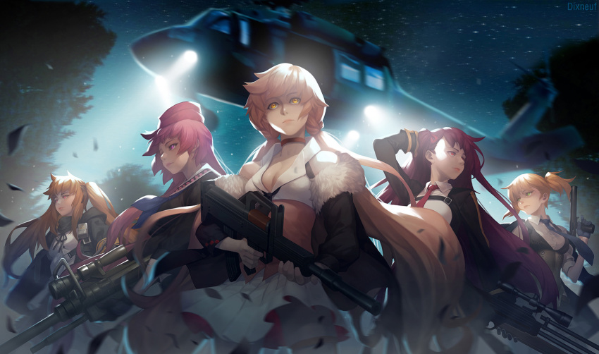 5girls aircraft anti-materiel_rifle armband artist_name bangs black_gloves black_legwear blazer blonde_hair blue_neckwear blurry braid breasts brown_eyes brown_hair buckle bullpup chocolate_hair choker cleavage closed_mouth coat collarbone collared_shirt commentary_request depth_of_field dual_wielding eirashard expressionless fingerless_gloves floating_hair fur-trimmed_coat fur_trim girls_frontline gloves green_eyes gun hair_ornament hair_ribbon hairclip half_updo hand_on_head handgun hat helicopter highres holding holding_gun holding_weapon jacket large_breasts leaf leaves_in_wind lipstick long_hair looking_away looking_to_the_side magazine_(weapon) makeup medium_breasts multiple_girls necktie night night_sky ntw-20 ntw-20_(girls_frontline) off_shoulder one_side_up ots-14 ots-14_(girls_frontline) pantyhose pink_eyes pink_hair pleated_skirt pouch purple_hair red_eyes red_neckwear ribbon rifle scar scar_across_eye school_uniform scope shirt short_hair sidelocks skirt sky sleeveless sleeveless_shirt sleeves_rolled_up smile sniper_rifle spotlight star_(sky) starry_sky strap striped_vest thigh-highs tree twintails ump9_(girls_frontline) very_long_hair vest wa2000_(girls_frontline) walther walther_wa_2000 weapon welrod_mk2 welrod_mk2_(girls_frontline) white_legwear white_shirt white_skirt wind wind_lift