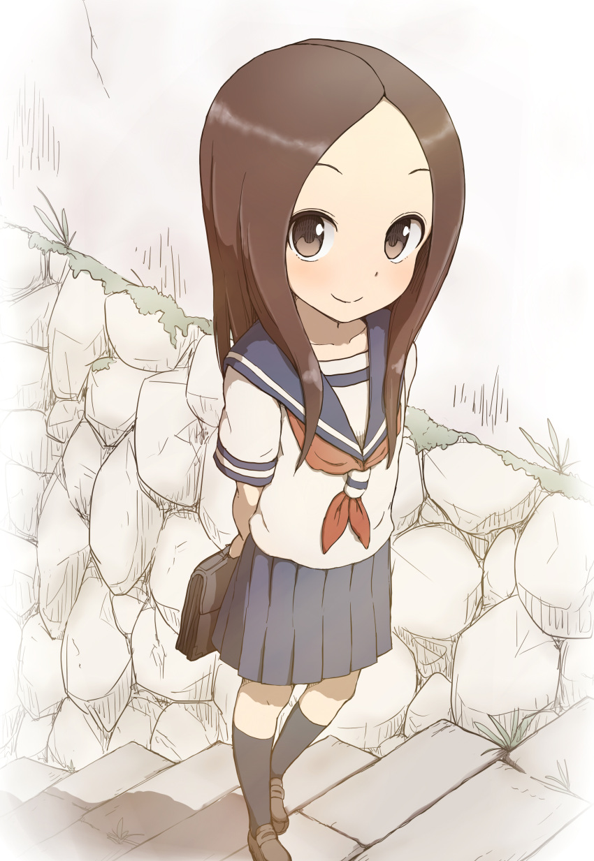 1girl absurdres bag bangs black_legwear blue_skirt blush briefcase brown_eyes brown_footwear brown_hair closed_mouth commentary_request day highres holding_bag karakai_jouzu_no_takagi-san kneehighs loafers long_hair looking_at_viewer neckerchief outdoors parted_bangs pleated_skirt red_neckwear school_bag school_uniform serafuku shirt shoes short_sleeves skirt smile solo stairs standing standing_on_one_leg stone_stairs takagi-san takunama white_shirt