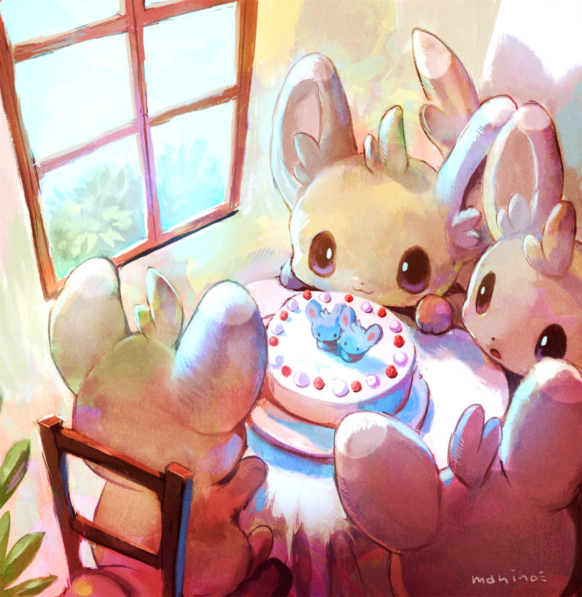 :3 :o artist_name brown_eyes cake chair closed_mouth commentary_request day food highres indoors manino_(mofuritaionaka) minccino no_humans parted_lips plant pokemon pokemon_(creature) potted_plant signature sitting smile table window