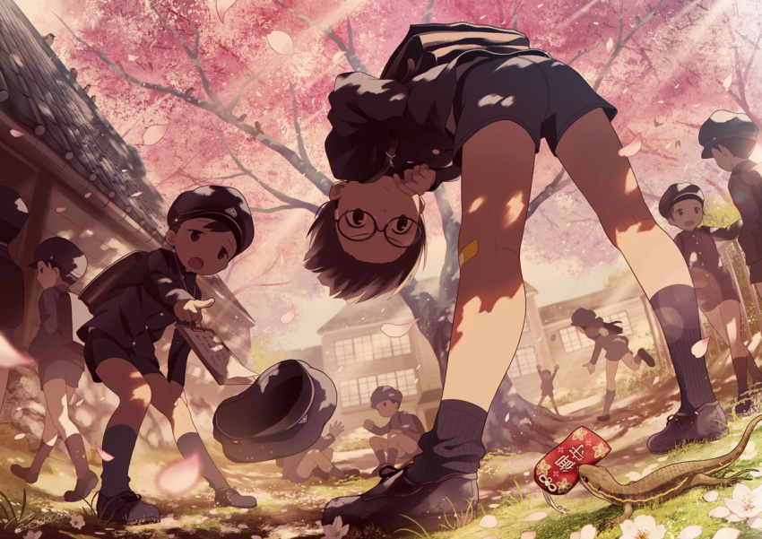 6+boys bandaid bandaid_on_knee cherry_blossoms from_below glasses hat lizard male_focus multiple_boys noeyebrow_(mauve) open_mouth original pointing school_uniform shorts spring_(season) standing tree