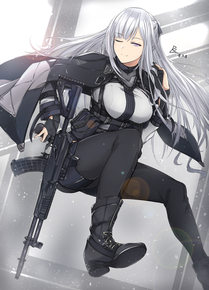 1girl absurdres ak-12 ak-12_(girls_frontline) ankle_boots assault_rifle bangs belt black_cape black_footwear black_gloves black_jacket black_pants boots braid breasts cape closed_mouth collar dated eyebrows_visible_through_hair floating_hair french_braid girls_frontline gloves gun half-closed_eye highres holding holding_gun holding_weapon jacket jacket_on_shoulders jumping long_hair long_sleeves looking_at_viewer medium_breasts one_eye_closed open_clothes open_jacket pale_skin pants partly_fingerless_gloves pouch rifle shadow sidelocks signature simple_background smile snow snowing straight_hair strap trigger_discipline underbust uniform violet_eyes walking weapon white_hair zhishi_ge_fangzhang