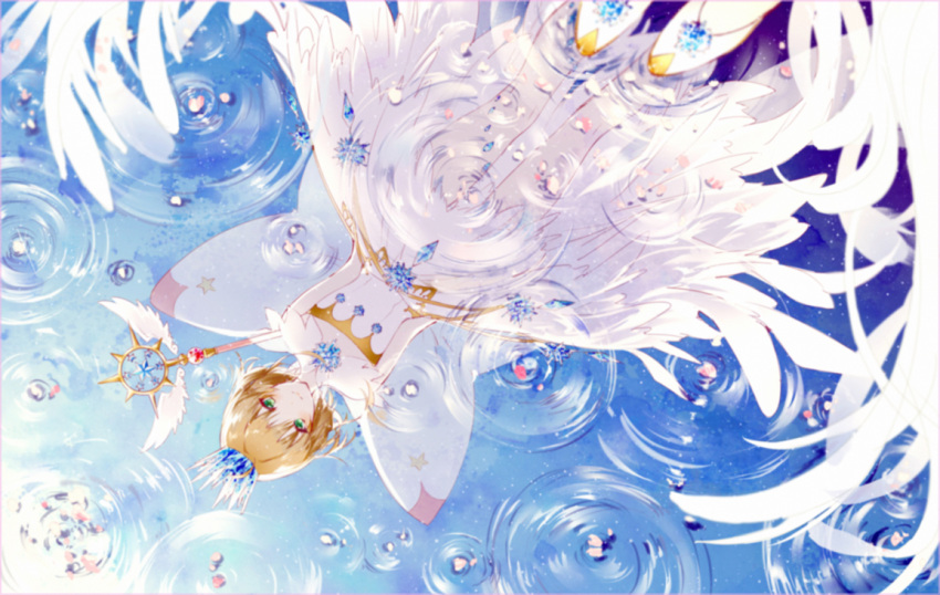 1girl arms_behind_back bare_legs bare_shoulders brown_hair card_captor_sakura closed_mouth crown detached_collar dress fairy_wings full_body gem green_eyes kinokohime kinomoto_sakura leaning_forward petals petals_on_water ripples short_hair smile snowflakes solo standing strapless strapless_dress wand water white_dress white_footwear wings