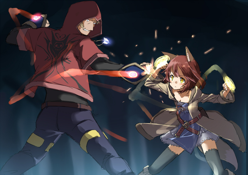 1boy 1girl amane_rosylily animal_ears bangs belt_buckle black_legwear black_shirt blue_pants blurry blurry_background blush boots breasts brown_belt brown_coat brown_footwear brown_hair buckle cleavage clenched_hands clenched_teeth closed_mouth coat collarbone commentary_request depth_of_field dress fantasy fighting fox_ears highres hood hood_down hood_up hooded_coat hooded_jacket jacket jewelry knee_boots long_sleeves magic night open_clothes open_coat original outdoors pants pendant punching red_jacket sekira_ame shirt short_hair short_over_long_sleeves short_sleeves small_breasts strapless strapless_dress sweat teeth thigh-highs tree v-shaped_eyebrows white_dress yellow_eyes