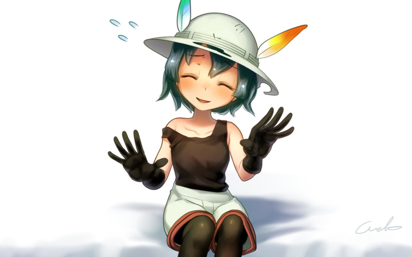 1girl ^_^ artist_name bent_elbows bent_knees black_gloves black_hair black_legwear blush check_commentary closed_eyes collarbone commentary_request eyebrows_visible_through_hair feathers flying_sweatdrops gloves green_hair hair_between_eyes hands_up hat hat_feather kaban_(kemono_friends) kemono_friends pantyhose short_hair shorts signature sitting smile solo strap_slip welt_(kinsei_koutenkyoku) white_background