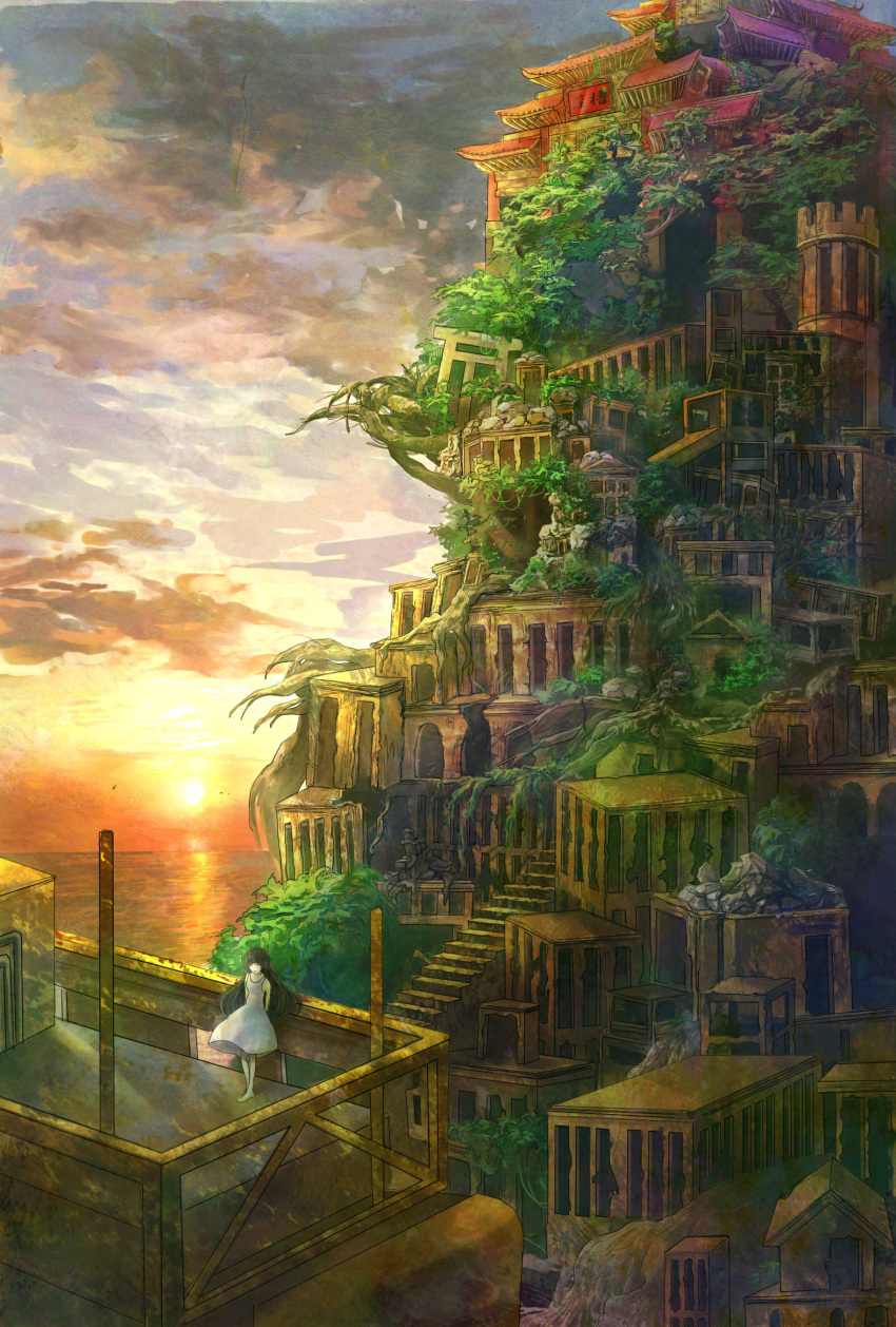 1girl arms_behind_back bangs barefoot black_hair blunt_bangs cityscape closed_eyes closed_mouth clouds cloudy_sky commentary commentary_request dress expressionless handrail highres house long_hair original perspective post roots ruins scenery short_dress sky sleeveless sleeveless_dress solo stairs standing sun sunlight tree twilight wariko white_dress