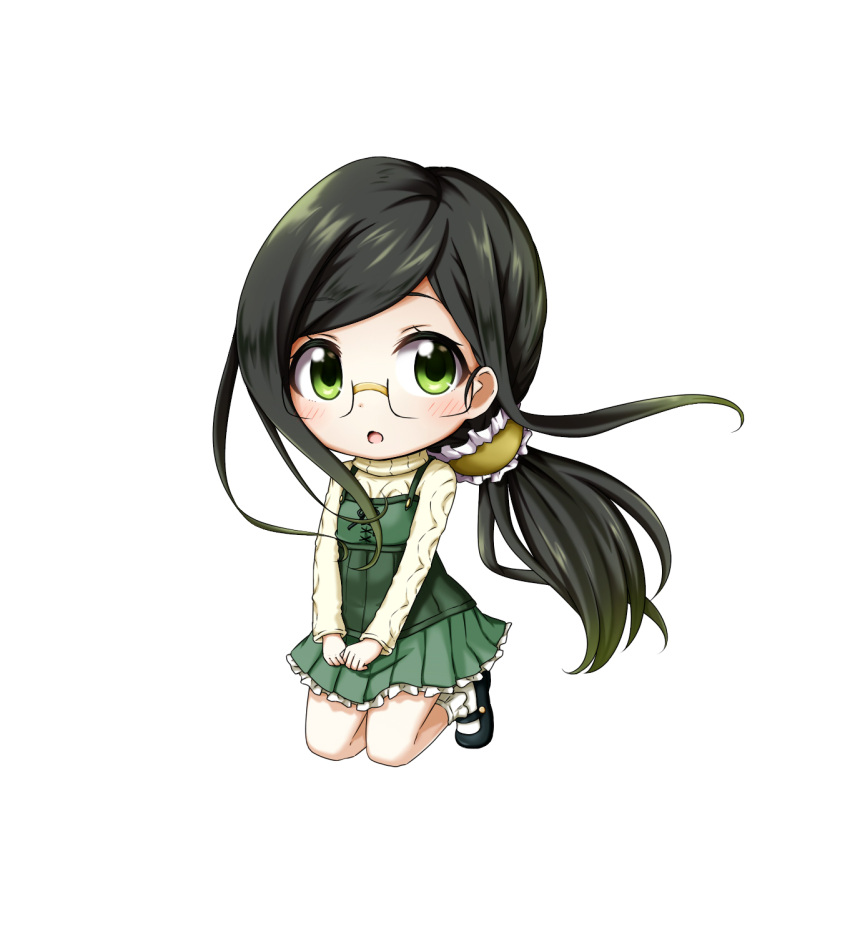 1girl :o aran_sweater bangs black_footwear blush bobby_socks chibi dress eyebrows_visible_through_hair glasses green_dress green_eyes green_hair highres kuena long_hair long_sleeves looking_at_viewer low_ponytail mary_janes parted_lips pleated_dress ponytail ryuuou_no_oshigoto! sadatou_ayano shoes simple_background sleeveless sleeveless_dress socks solo sweater very_long_hair white_background white_legwear white_sweater
