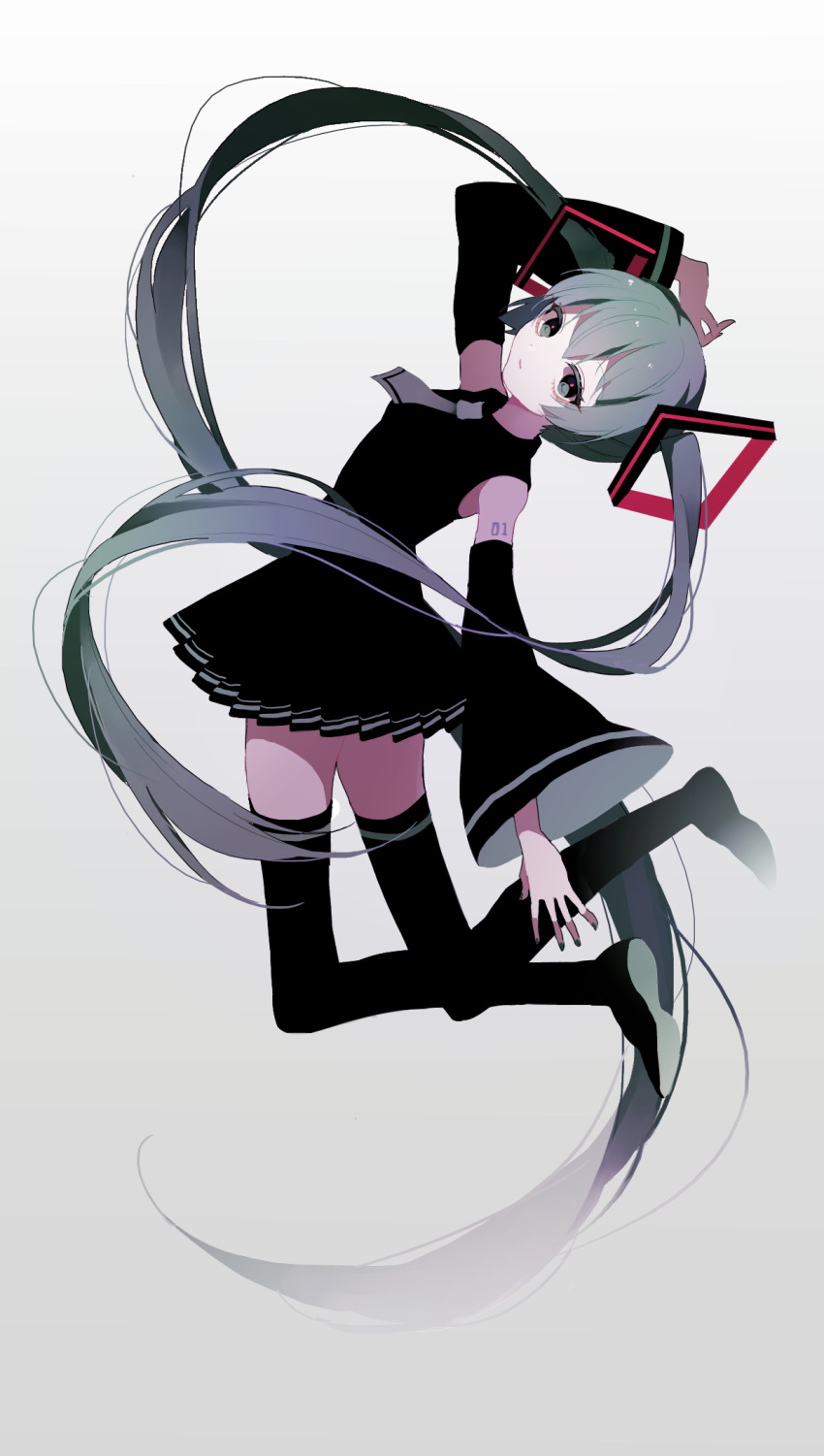 1girl bangs bent_elbow bent_knees black_dress black_footwear black_legwear closed_mouth commentary_request dress gradient_hair grey_background grey_neckwear hair_between_eyes hair_ornament hatsune_miku head_tilt highres horizontal_stripes long_hair looking_at_viewer multicolored_hair solo striped striped_legwear sulfur_(1453rk) very_long_hair vocaloid