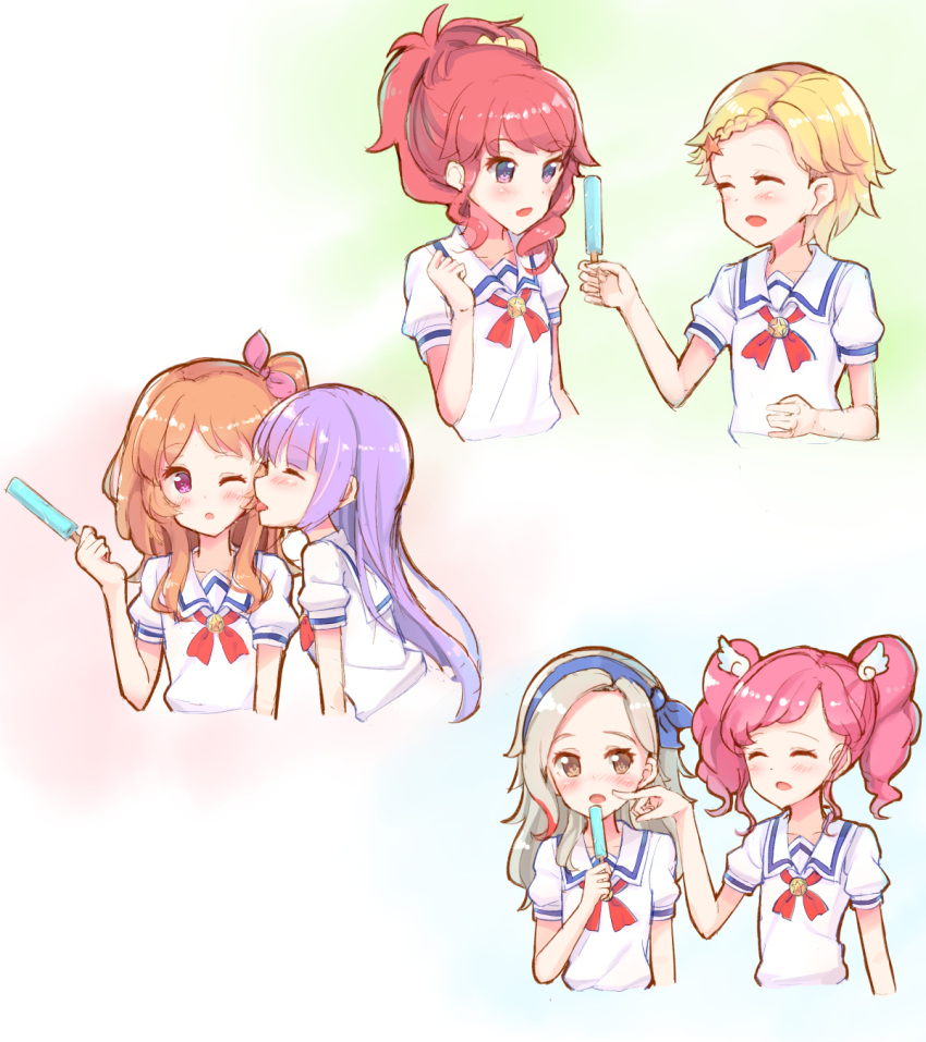 6+girls :d ^_^ aikatsu! amahane_madoka blonde_hair blue_hairband blue_ribbon blush braid brown_eyes brown_hair cheek_poking closed_eyes collarbone food hair_ornament hair_ribbon hair_scrunchie hairband high_ponytail highres hikami_sumire holding holding_food kurebayashi_juri kurosawa_rin_(aikatsu!) light_brown_hair makiaato multiple_girls one_side_up oozora_akari open_mouth pink_eyes pink_hair pink_ribbon poking ponytail popsicle profile puffy_short_sleeves puffy_sleeves purple_hair redhead ribbon sailor_collar school_uniform scrunchie serafuku shinjou_hinaki shirt short_hair short_sleeves smile star star_hair_ornament starlight_academy_uniform tongue tongue_out twintails violet_eyes white_sailor_collar white_shirt wing_hair_ornament yellow_scrunchie yuri