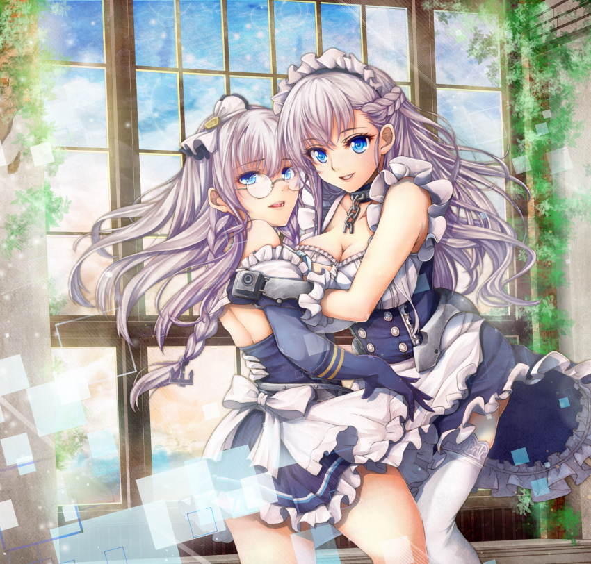 2girls anchor_hair_ornament apron azur_lane back backless_outfit bangs bare_back bare_shoulders belfast_(azur_lane) blue_dress blue_eyes blue_gloves blue_sky bow braid breasts cleavage clouds crossed_bangs day dress edinburgh_(azur_lane) eyebrows eyebrows_visible_through_hair eyelashes facing_another floating_hair french_braid frilled_apron frilled_dress frills glasses gloves hair_between_eyes hair_bow hair_ornament highres large_breasts long_hair looking_at_viewer maid maid_apron maid_headdress multiple_girls n_funiya open-back_dress open_mouth rimless_eyewear round_eyewear short_dress silver_hair sky smile straight_hair teeth thigh-highs twin_braids waist_apron white_apron white_bow white_legwear window zettai_ryouiki
