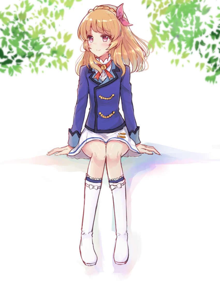 1girl aikatsu! arm_support bangs blue_jacket blush boots braid brown_hair closed_mouth crown_braid eyebrows_visible_through_hair flat_chest hair_ribbon highres jacket knee_boots leaf light_brown_hair long_hair looking_away looking_to_the_side makiaato oozora_akari pink_ribbon pleated_skirt red_eyes ribbon school_uniform shirt sitting skirt smile solo starlight_academy_uniform white_footwear white_shirt white_skirt
