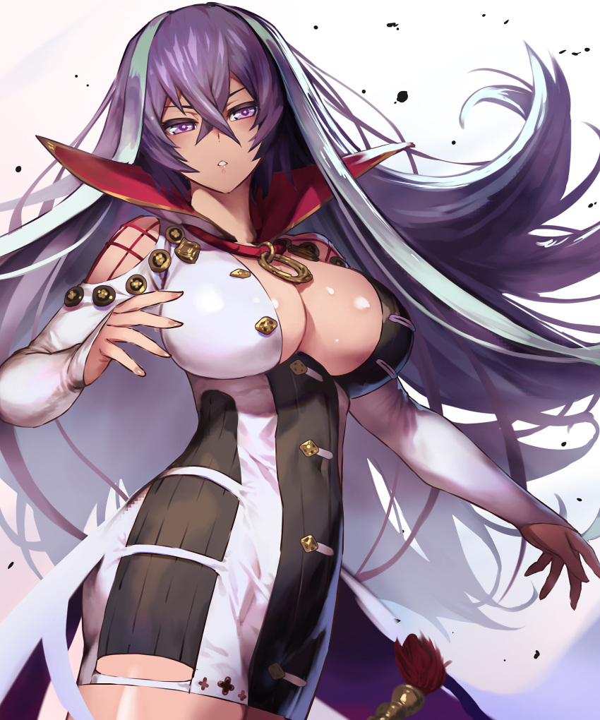 1girl :o aqua_hair bare_shoulders blush breasts cleavage covered_navel cowboy_shot cozy crossed_bangs dress hair_between_eyes half-closed_eyes highres impossible_clothes impossible_dress isabelle_(shadowverse) large_breasts long_hair long_sleeves looking_at_viewer multicolored_hair open_mouth purple_hair shadowverse shiny shiny_skin short_dress shoulder_cutout simple_background sleeves_past_wrists solo standing two-tone_hair v-shaped_eyebrows very_long_hair violet_eyes waist_cape white_background