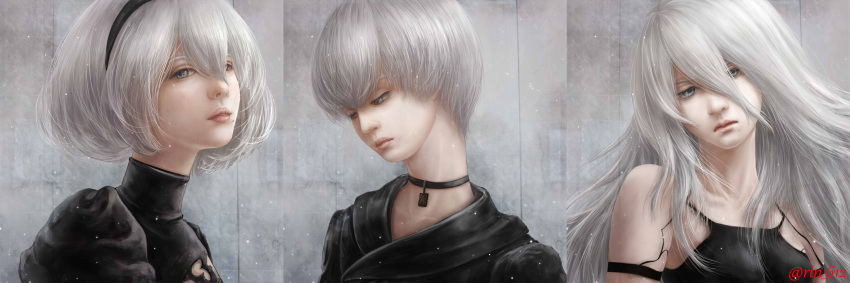 1boy 2girls android black_shirt bob_cut breasts choker closed_mouth collarbone commentary commentary_request face grey_background grey_eyes grey_hair hair_between_eyes highres lips long_hair looking_at_viewer looking_away looking_down multiple_girls nier_(series) nier_automata nose parted_lips realistic serious shirt short_hair signature sleeveless small_breasts tiara turtleneck wariko yorha_no._2_type_b yorha_no._9_type_s yorha_type_a_no._2