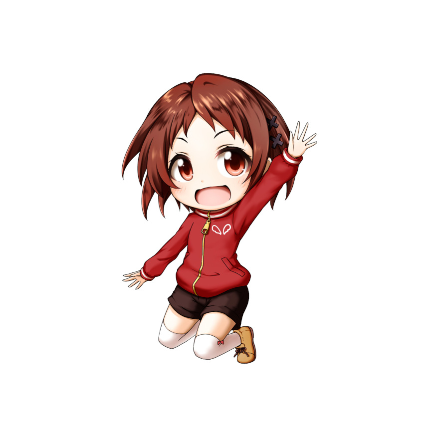 1girl :d arm_up bangs black_shorts blush boots brown_footwear brown_hair chibi eyebrows_visible_through_hair hair_ornament highres jacket kuena long_sleeves looking_at_viewer mizukoshi_mio open_mouth over-kneehighs parted_bangs red_eyes red_jacket ryuuou_no_oshigoto! short_hair short_shorts shorts simple_background smile solo thigh-highs white_background white_legwear x_hair_ornament zipper_pull_tab