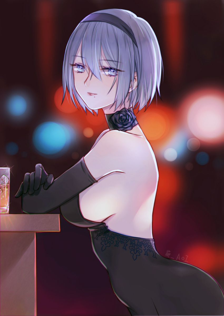alcohol aoi_aoi arms_on_table backless_outfit beer black_dress black_flower black_hairband black_rose blue_eyes breasts choker cocktail_dress cup dress drink drinking_glass elbow_gloves eyebrows_visible_through_hair flower from_side gloves hairband highres ice lights looking_at_viewer mole mole_under_mouth nier_(series) nier_automata no_blindfold pink_lips rose short_hair sideboob silver_hair standing table yorha_no._2_type_b