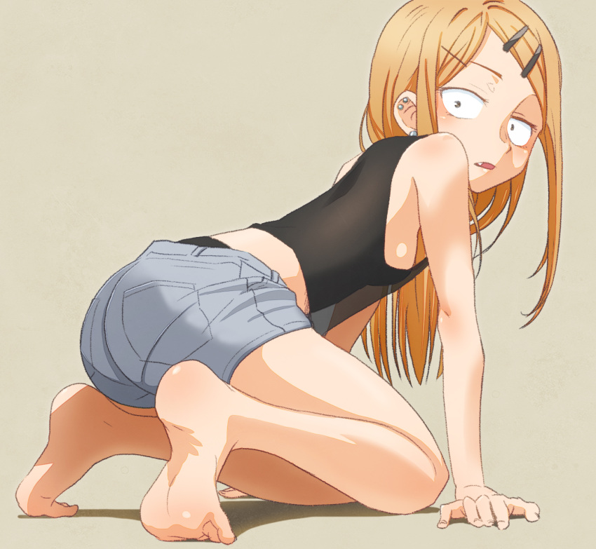 1girl all_fours bare_shoulders barefoot black_tank_top blonde_hair breasts commentary dagashi_kashi ear_piercing endou_saya_(dagashi_kashi) eyebrows_visible_through_hair fang feet hair_ornament hairclip highres long_hair looking_at_viewer parted_lips piercing sanpaku sat-c short_shorts shorts sideboob simple_background small_breasts soles solo tank_top