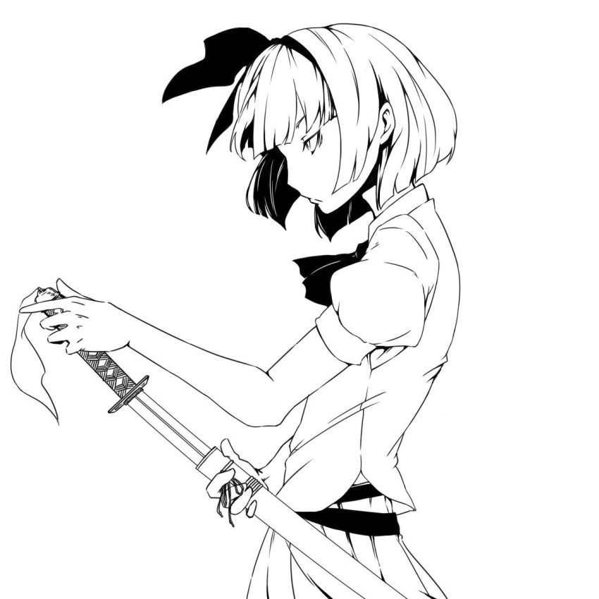 1girl bangs belt bent_elbow blunt_bangs bob_cut closed_mouth commentary_request cowboy_shot ear from_side greyscale hair_ribbon highres katana konpaku_youmu monochrome neck_ribbon pleated_skirt puffy_short_sleeves puffy_sleeves ribbon sheath shirt short_hair short_sleeves simple_background skirt solo sword touhou vest weapon yurakokko