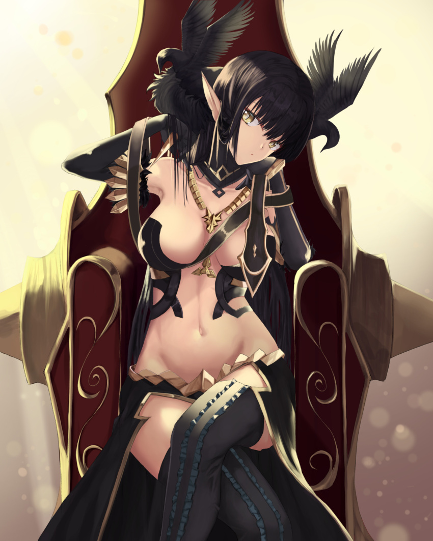 1girl absurdres bare_shoulders bird black_dress black_hair breasts cleavage detached_collar detached_sleeves dress fate/apocrypha fate/grand_order fate_(series) gold hand_on_own_cheek head_tilt highres jewelry large_breasts legs_crossed long_hair looking_at_viewer navel necklace nekobell pointy_ears revealing_clothes semiramis_(fate) sitting solo thigh-highs thighs throne very_long_hair yellow_eyes