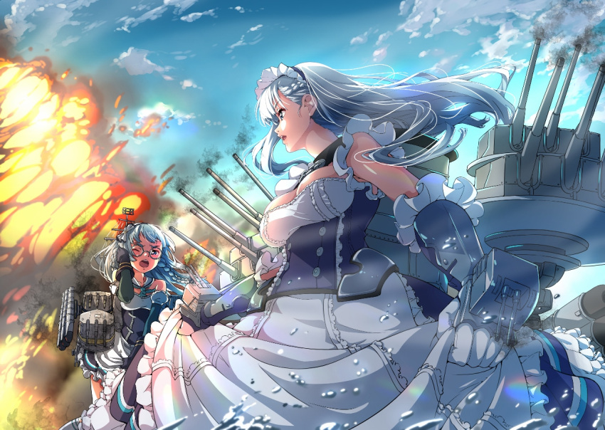 2girls apron aqua_neckwear azur_lane bangs bare_shoulders belfast_(azur_lane) black_dress black_gloves blue_eyes blue_sky bow braid breasts buttons chains cleavage clouds dress dress_lift edinburgh_(azur_lane) explosion floating_hair french_braid frilled_apron frilled_dress frills gloves hair_bow looking_at_another machinery maid maid_apron maid_headdress medium_breasts multiple_girls neckerchief one_eye_closed open_mouth outdoors round_eyewear rusk_(canvas4ban) sailor_collar silver_hair sky smoke teeth turret waist_apron water white_apron white_bow white_sailor_collar