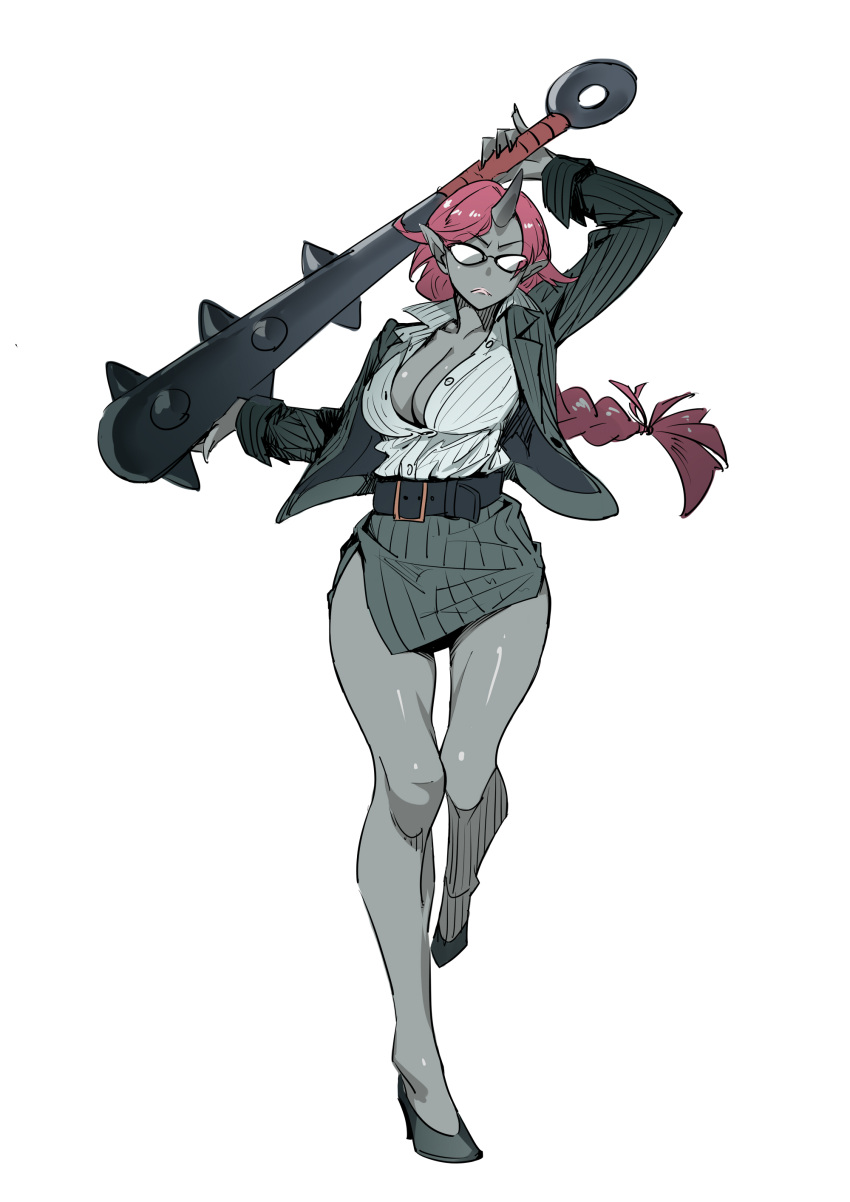 1girl absurdres belt breasts cleavage club commentary eyebrows_visible_through_hair fang formal glasses grey_skin highres horn kanabou large_breasts long_braid long_hair miniskirt office_lady oni open_clothes original pencil_skirt pointy_ears redhead skirt skirt_suit solo suit teacher twinpoo weapon