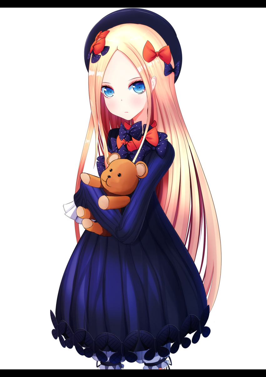 1girl abigail_williams_(fate/grand_order) bangs black_bow black_dress black_hat blonde_hair bloomers blue_eyes bow butterfly closed_mouth commentary_request cowboy_shot dress fate/grand_order fate_(series) forehead hair_bow hat highres karana_(wisteria0413) letterboxed long_hair long_sleeves looking_at_viewer object_hug orange_bow parted_bangs polka_dot polka_dot_bow simple_background sleeves_past_fingers sleeves_past_wrists solo stuffed_animal stuffed_toy teddy_bear underwear very_long_hair white_background white_bloomers