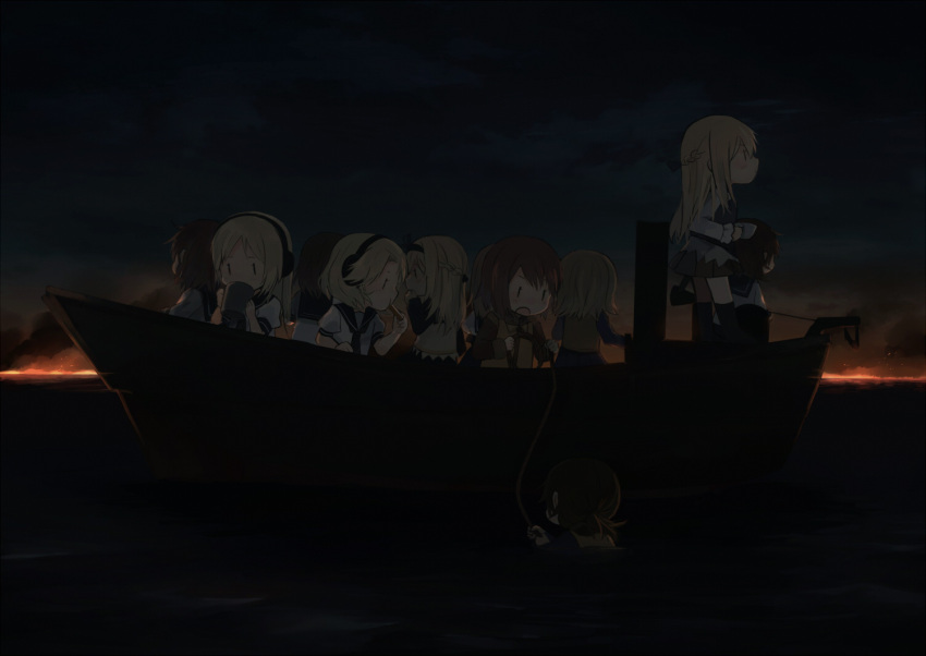 6+girls annin_musou black_hairband blonde_hair braid brown_hair fairy_(kantai_collection) french_braid grey_skirt hair_between_eyes hairband headphones holding kantai_collection long_hair long_sleeves multiple_girls ocean open_mouth pleated_skirt puffy_short_sleeves puffy_sleeves rope school_uniform serafuku short_hair short_sleeves skirt