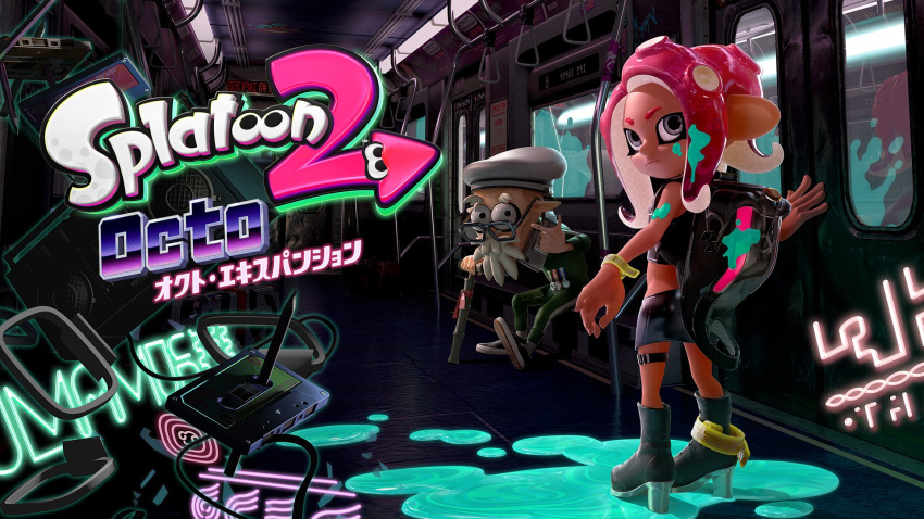 1girl commander_atarime ground_vehicle high_heels highres logo looking_at_viewer nintendo official_art old_man pointy_ears skirt splatoon splatoon_2 squidbeak_splatoon subway takozonesu tentacle_hair train train_interior