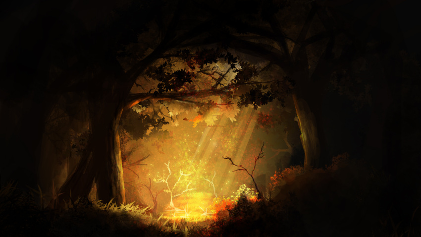 autumn autumn_leaves bush dark glowing grass high_contrast highres landscape leona_(yun_laurant) no_humans original sapling sunlight tree tree_branch