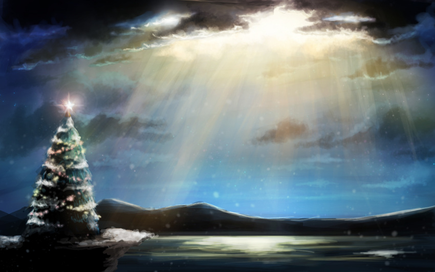 christmas christmas_ornaments christmas_tree cliff clouds cloudy_sky commentary commentary_request glowing glowing_star highres landscape leona_(yun_laurant) mountain night night_sky no_humans ocean original pine_tree scenery sky snow snowing star_(sky) starry_sky tree water