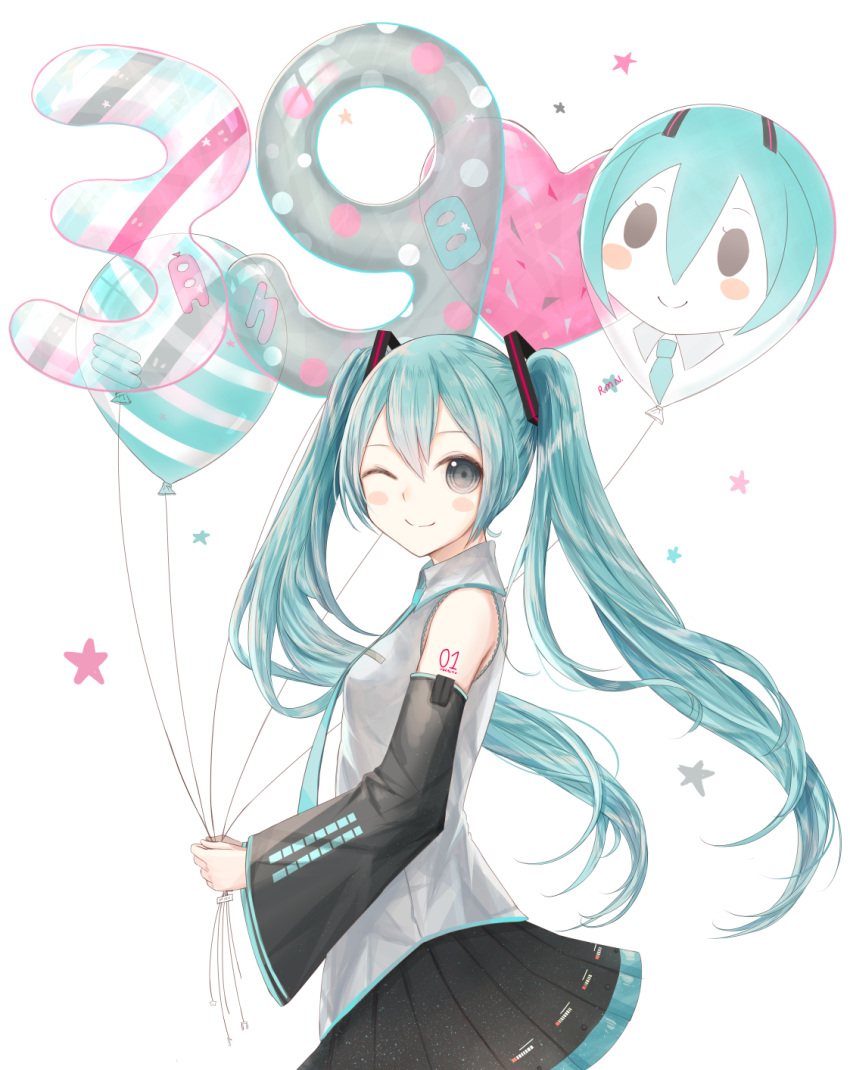 1girl 39 aqua_eyes aqua_hair balloon blush_stickers detached_sleeves from_side hatsune_miku highres long_hair necktie one_eye_closed pleated_skirt ramune. simple_background skirt smile solo twintails very_long_hair vocaloid white_background