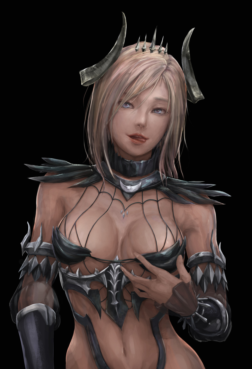 1girl absurdres black_background blonde_hair blue_eyes bracer breasts character_request highres horns licking_lips lips looking_at_viewer mabinogi mabinogi_heroes medium_breasts naughty_face navel realistic revealing_clothes shoowarke short_hair simple_background solo teeth tiara tongue tongue_out upper_body