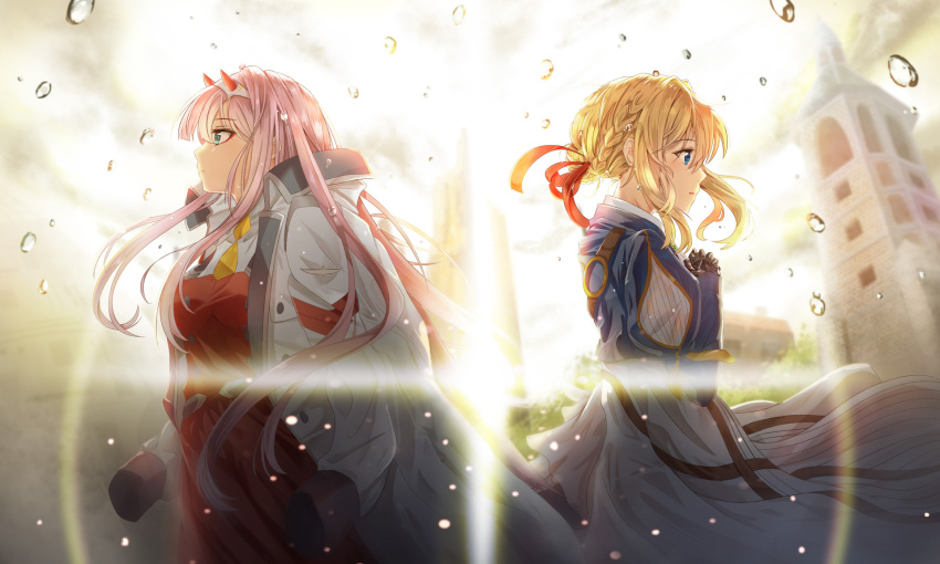 2girls aqua_eyes back-to-back bangs blonde_hair blue_eyes blue_jacket braid breasts brooch clock clock_tower darling_in_the_franxx double-breasted dress eyebrows_visible_through_hair eyeshadow facing_away hair_between_eyes hair_intakes hair_ribbon hairband hands_on_own_chest highres horns jacket jacket_on_shoulders jewelry lens_flare light_rays long_hair long_sleeves makeup mechanical_hand military military_jacket military_uniform multiple_girls orange_neckwear pink_hair prosthesis prosthetic_arm prosthetic_hand rain red_ribbon ribbon shiny shiny_hair straight_hair synn032 tower uniform violet_evergarden violet_evergarden_(character) water_drop white_hairband zero_two_(darling_in_the_franxx)
