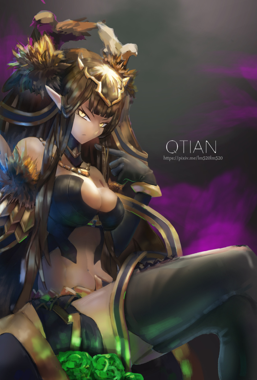 1girl bare_shoulders bird black_dress black_hair breasts cleavage detached_collar detached_sleeves dress elbow_gloves fate/apocrypha fate/grand_order fate_(series) feather-trimmed_sleeves feathers fur_trim gloves gold hair_ornament highres jewelry large_breasts legs_crossed lm520lm520 long_hair looking_at_viewer navel necklace pointy_ears queen revealing_clothes semiramis_(fate) sitting thigh-highs thighs throne yellow_eyes