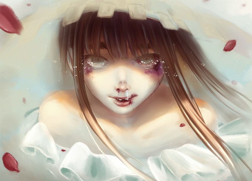 1girl artist_name bare_shoulders black_eye blood blood_on_face bloody_nose blue_eyes brown_hair bruise bruise_on_face collarbone frills injury long_hair looking_at_viewer missing_tooth nuei oyasumi_punpun parted_lips petals realistic runny_nose solo spoilers tanaka_aiko tears upper_body