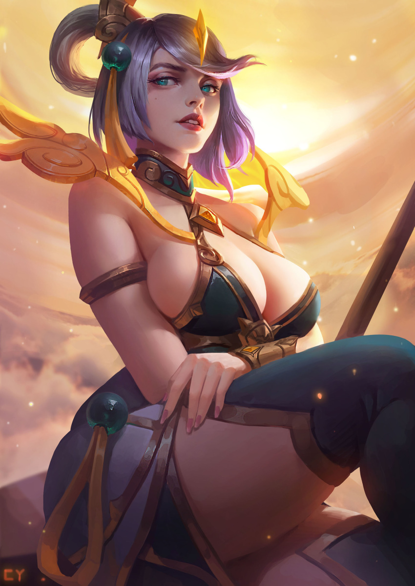 1girl absurdres alternate_costume alternate_hairstyle armlet bangs bare_arms bare_shoulders blue_eyes boots breast_hold breasts center_opening chengyouliu cleavage clouds cloudy_sky crossed_arms dress eyelashes hair_ornament half-closed_eyes highres large_breasts lavender_hair league_of_legends lips looking_at_viewer lunar_empress_lux luxanna_crownguard nail_polish parted_lips short_hair sideboob sitting sky sleeveless sleeveless_dress solo staff swept_bangs teeth thick_eyebrows thigh-highs thigh_boots tiara vambraces