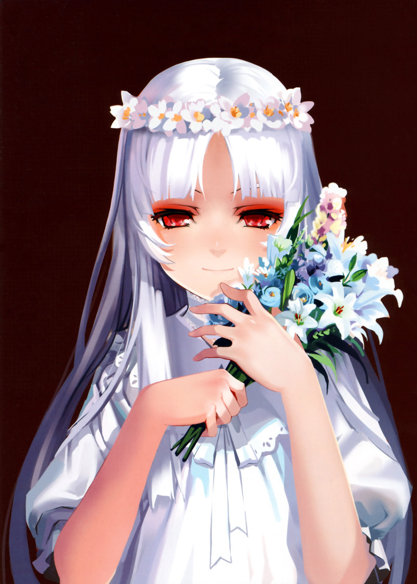 1girl absurdres albino alphonse_(white_datura) bangs bouquet dress el elysion flower head_wreath highres huge_filesize light_smile long_hair parted_bangs puffy_sleeves red_eyes scan simple_background solo sound_horizon upper_body white_dress white_hair