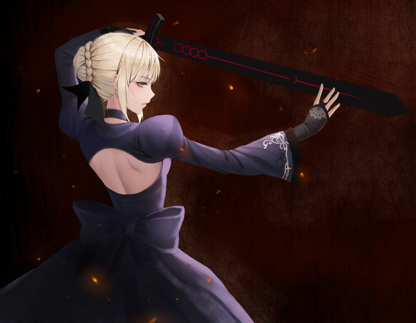1girl artoria_pendragon_(all) backless_outfit black_bow black_dress black_ribbon blonde_hair bow choker dark_excalibur dress embers fate/stay_night fate_(series) fingerless_gloves from_behind gloves hair_bun hair_ribbon highres holding holding_sword holding_weapon juliet_sleeves long_sleeves looking_at_viewer profile puffy_sleeves ribbon saber_alter short_hair solo sword weapon yellow_eyes zyl
