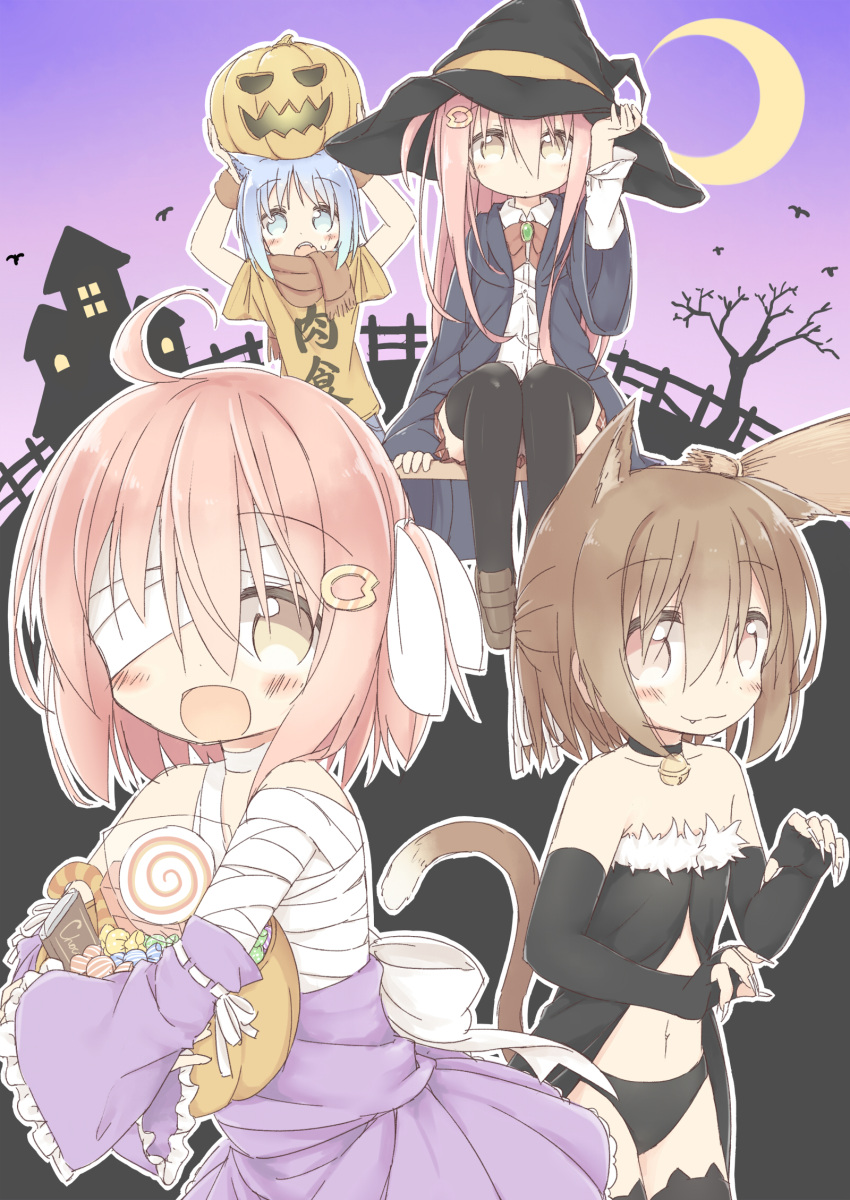 1boy 3girls :3 :d animal_band_legwear animal_ears arms_up ayanepuna bandage_over_one_eye bangs bare_shoulders bare_tree bell bell_choker black_choker black_dress black_gloves black_hat black_legwear black_panties black_robe blue_eyes blue_hair blush bow bowtie brooch broom brown_eyes brown_footwear brown_hair brown_neckwear brown_shirt candy candy_cane candy_wrapper cat_band_legwear cat_ears cat_girl cat_tail chocolate choker closed_mouth clothes_writing collarbone collared_shirt commentary_request crescent_moon detached_sleeves dress dress_shirt elbow_gloves eyebrows_visible_through_hair fang fang_out fangs fingerless_gloves fingernails food frilled_dress frills fur_trim gloves gradient gradient_background hair_between_eyes hair_ornament hair_ribbon halloween halloween_basket hat highres hood hood_down hooded_robe jack-o'-lantern jewelry jingle_bell kemonomimi_mode loafers lollipop long_fingernails long_hair long_sleeves moon multiple_girls navel on_head one_side_up open_clothes open_mouth open_robe original panties pink_background pink_hair pleated_skirt purple_background purple_dress red_skirt ribbon robe sharp_fingernails shirt shoes short_sleeves sidelocks sitting skirt smile strapless strapless_dress sweat sweatband swirl_lollipop tail thigh-highs tree underwear very_long_hair white_bow white_ribbon white_shirt wide_sleeves witch_hat wristband