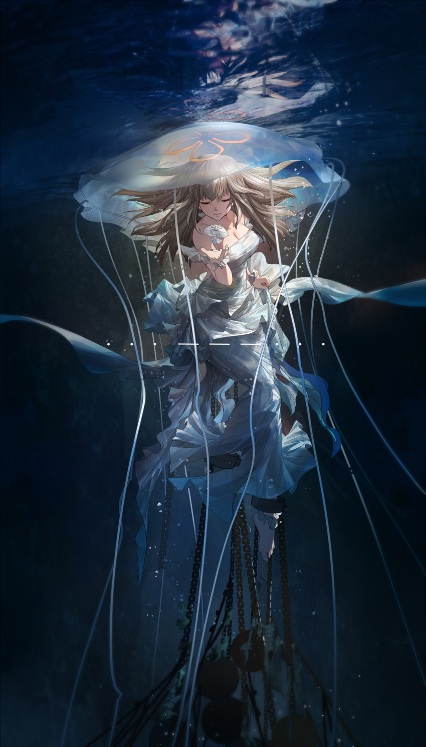 1girl absurdres afloat air_bubble bare_shoulders barefoot blonde_hair breasts bubble chains cleavage closed_eyes closed_mouth collarbone dress highres jellyfish long_dress long_hair mivit off-shoulder_dress off_shoulder original reflection restrained smile sos submerged toes underwater water white_dress