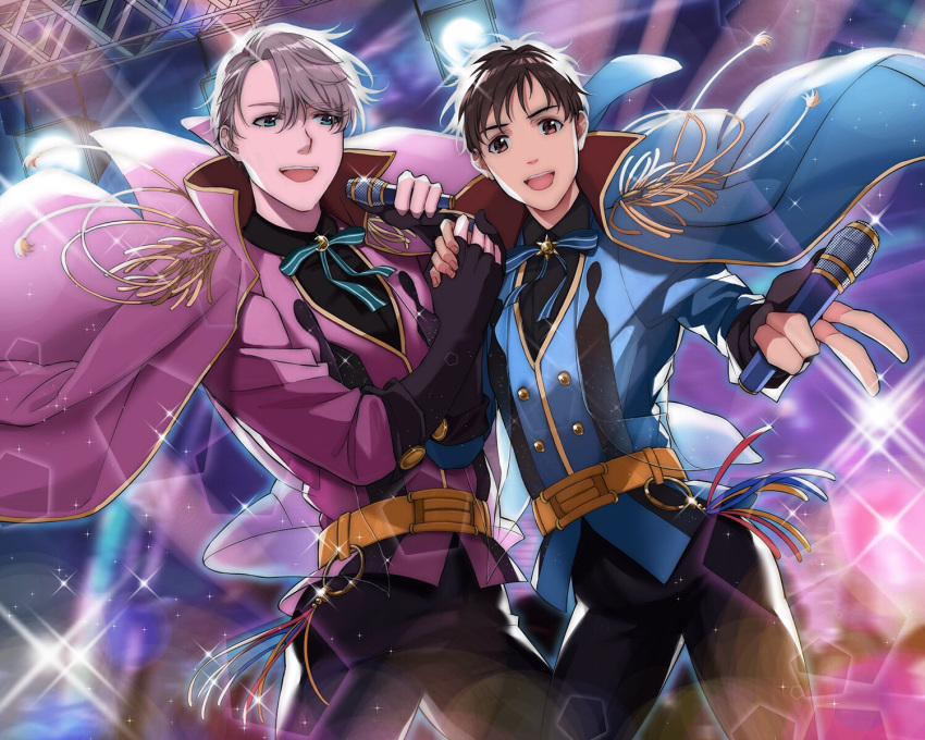 2boys adapted_costume al_(ahr) black_hair blue_eyes brown_eyes fingerless_gloves gloves hand_holding highres idol jacket_on_shoulders katsuki_yuuri male_focus microphone multiple_boys open_mouth ribbon silver_hair smile sparkle spotlight viktor_nikiforov yuri!!!_on_ice