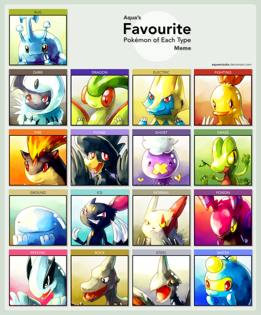 absol aerodactyl bird claws closed_mouth combusken commentary creature drifloon english face facial_mark fangs fiery_hair flygon gen_1_pokemon gen_2_pokemon gen_3_pokemon gen_4_pokemon grin heracross highres horn lanturn lugia manectric mouth_hold murkrow no_humans orange_eyes original pink_eyes pokemon_(creature) quagsire quilava red_eyes sa-dui scolipede sharp_teeth sitting skarmory smile sneasel teeth treecko watermark web_address white_hair yellow_eyes zangoose