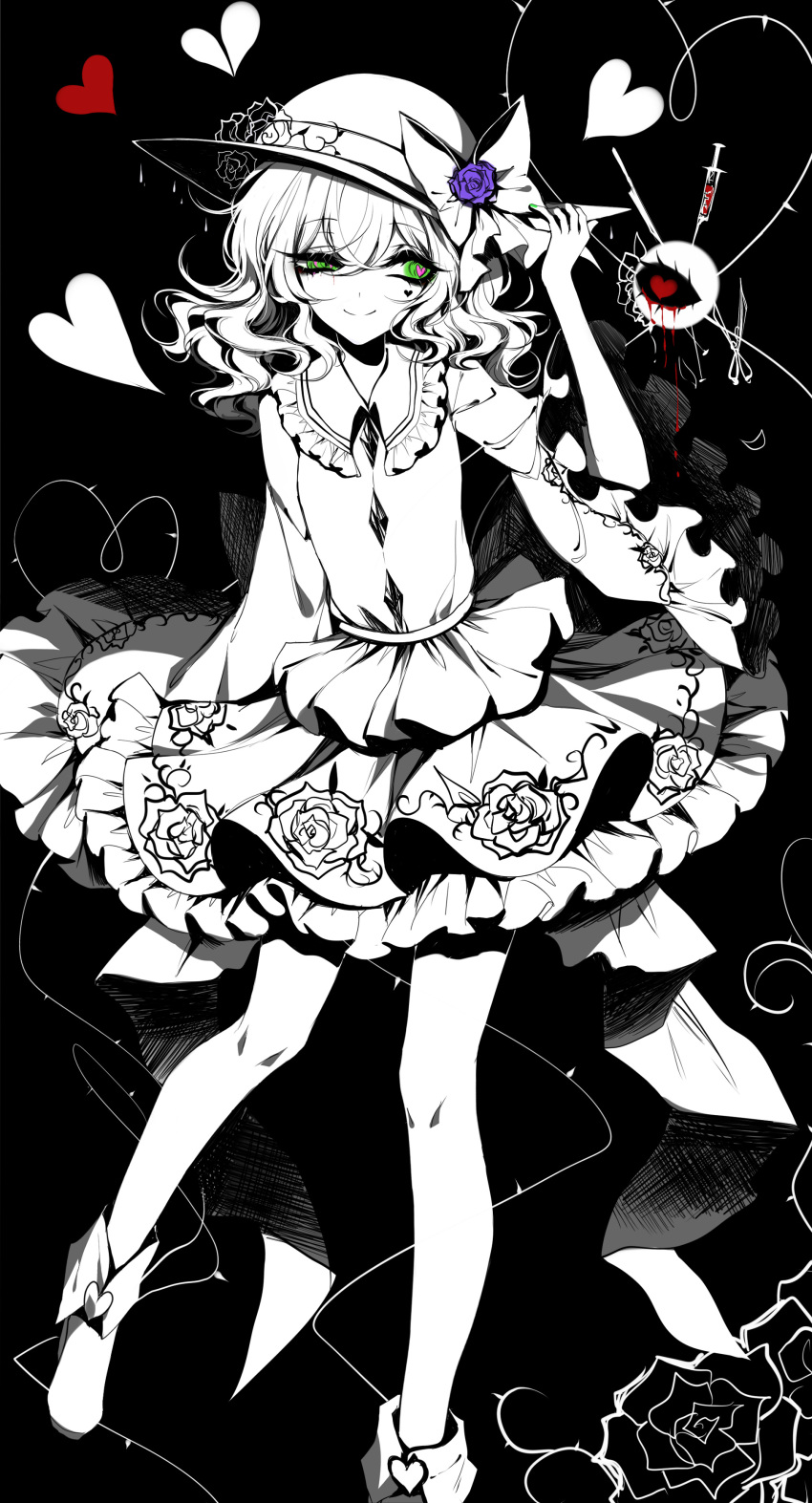 1girl absurdres black_background blood blue_flower blue_rose boots bow eyebrows_visible_through_hair floral_print flower frilled_shirt_collar frills hair_between_eyes hand_on_headwear hat hat_bow hat_flower hat_rose heart heart-shaped_pupils heart_of_string highres komeiji_koishi limited_palette long_sleeves looking_to_the_side medium_hair petticoat rose scalpel sheya shirt simple_background skirt smile solo spot_color symbol-shaped_pupils syringe third_eye thorns touhou uneven_eyes wide_sleeves