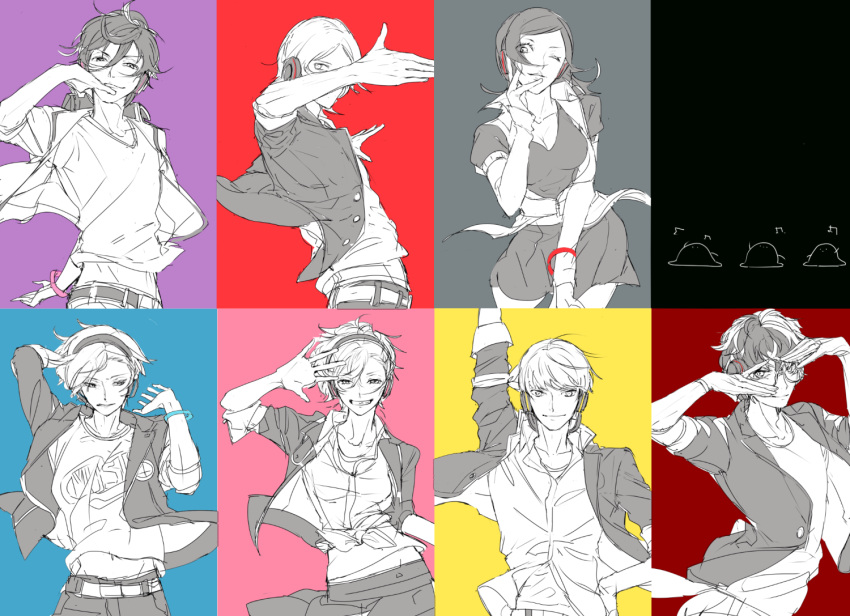 2girls 5boys a_(xxxnulll) amamiya_ren amano_maya arm_up bracelet crossover female_protagonist_(persona_3) glasses headphones jewelry multicolored multicolored_background multiple_boys multiple_girls narukami_yuu persona persona_1 persona_2 persona_3 persona_3:_dancing_moon_night persona_4 persona_4:_dancing_all_night persona_5 persona_5:_dancing_star_night persona_dancing smile suou_tatsuya toudou_naoya yuuki_makoto