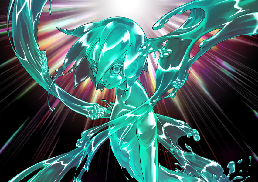 1other absurdres androgynous aqua_theme black_background completely_nude floating_hair from_side hair_between_eyes highres houseki_no_kuni liquid liquid_hair looking_away nazutake nude phosphophyllite short_hair solo transparent upper_body